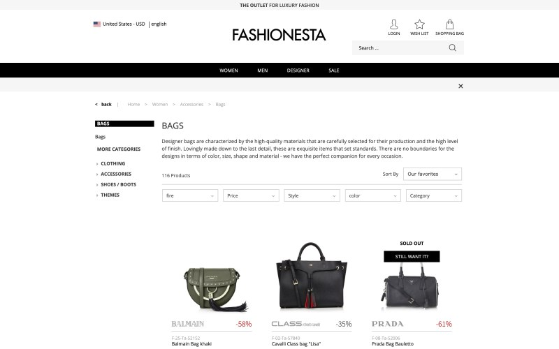 Fashionesta catalog page screenshot on April 4, 2019