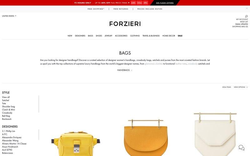 Forzieri catalog page screenshot on April 1, 2019