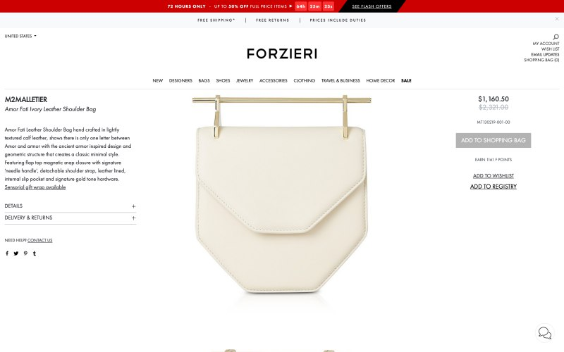 Forzieri product page screenshot on April 1, 2019