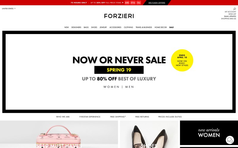 Forzieri home page screenshot on April 1, 2019
