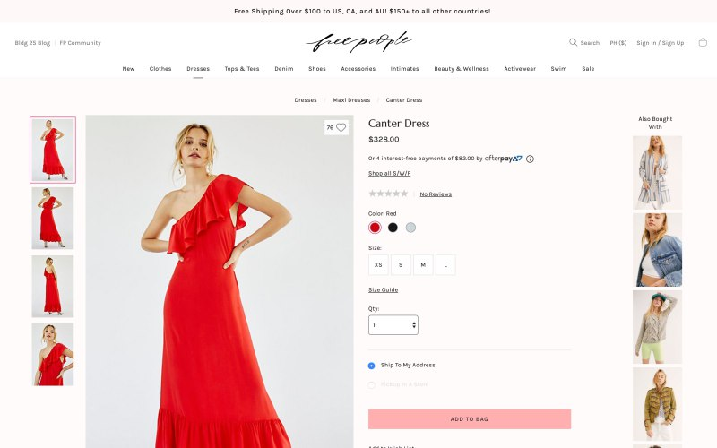 Free People product page screenshot on April 22, 2019
