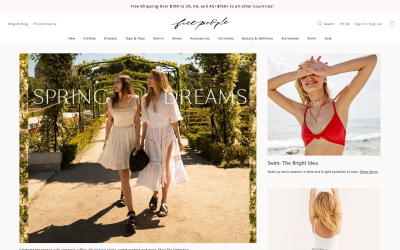 Free People home page screenshot on April 22, 2019