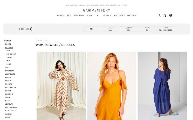 Garmentory catalog page screenshot on April