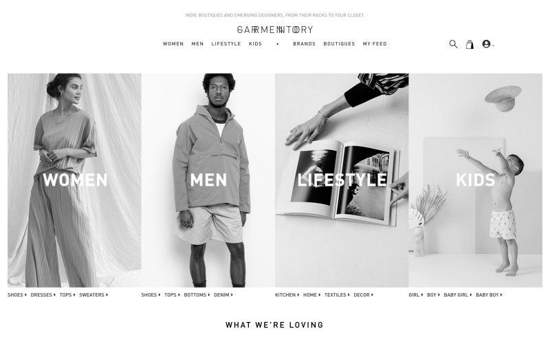 Garmentory home page screenshot on April