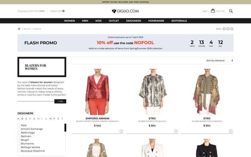 Giglio.com catalog page screenshot on April 4, 2019