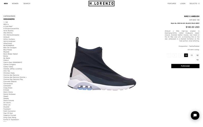 H.Lorenzo product page screenshot on April 29, 2019