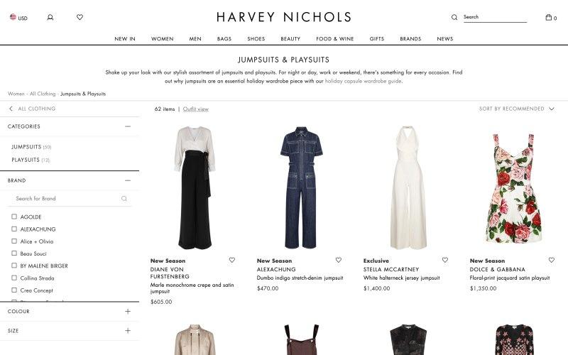 Harvey Nichols catalog page screenshot on April 1, 2019