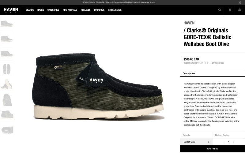 Haven Shop product page screenshot on April 30, 2019