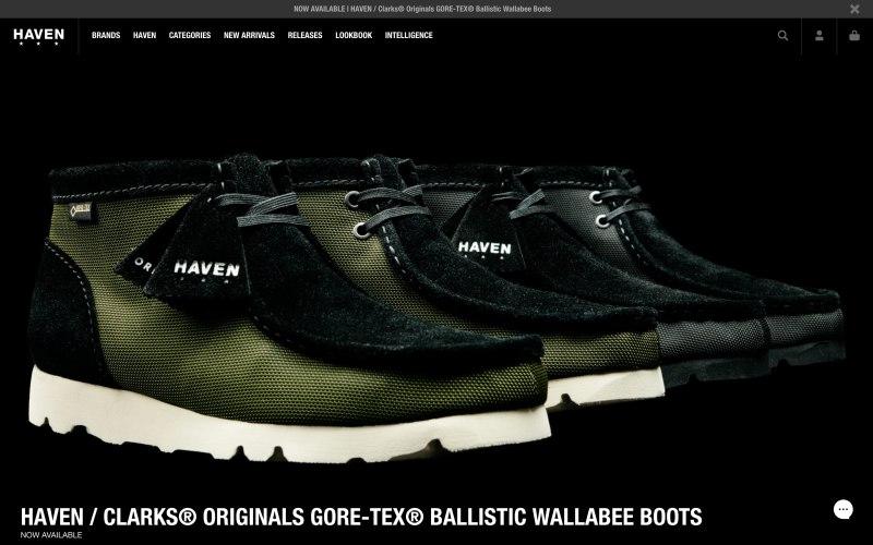 Haven Shop home page screenshot on April 30, 2019