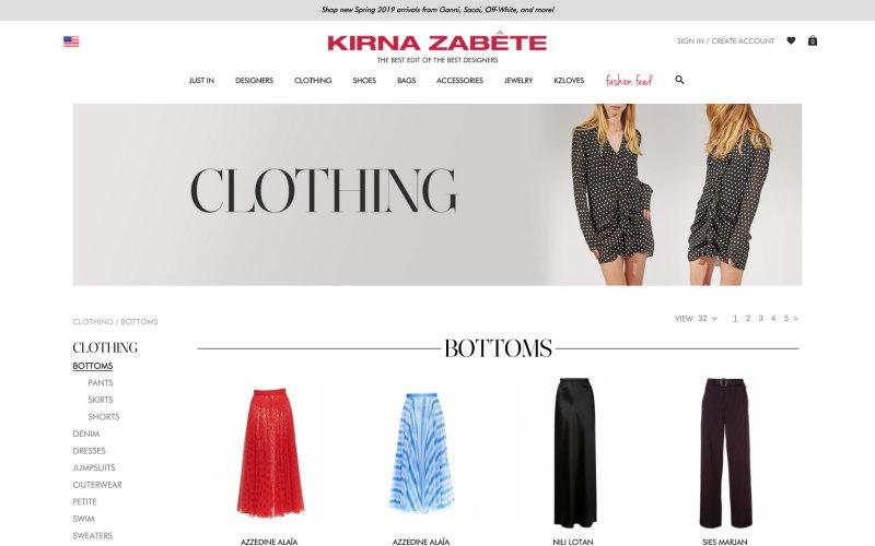 Kirna Zabete catalog page screenshot on April 2, 2019