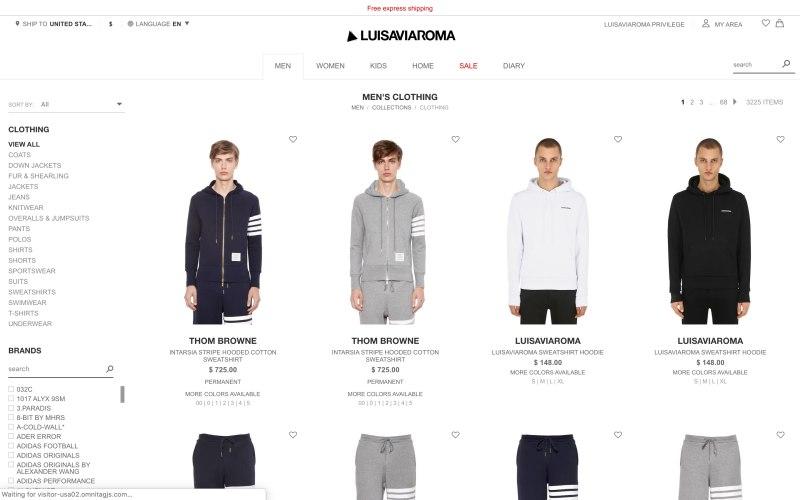 LUISAVIAROMA catalog page screenshot on April 1, 2019