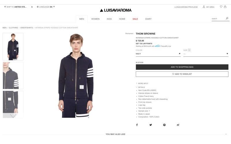 LUISAVIAROMA product page screenshot on April 1, 2019