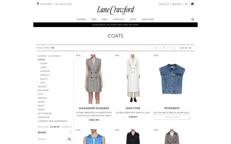 Lane Crawford catalog page screenshot on April 4, 2019