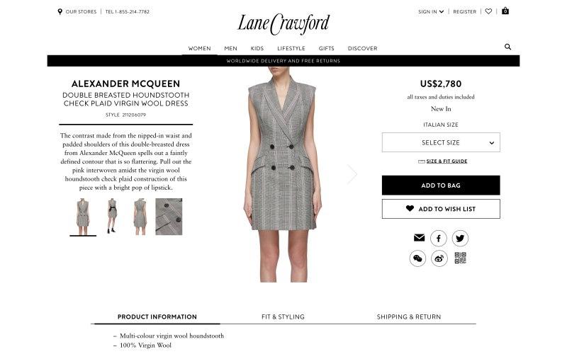 Lane Crawford product page screenshot on April 4, 2019