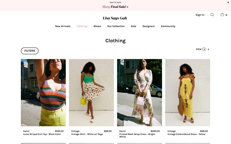 Lisa Says Gah catalog page screenshot on April 22, 2019