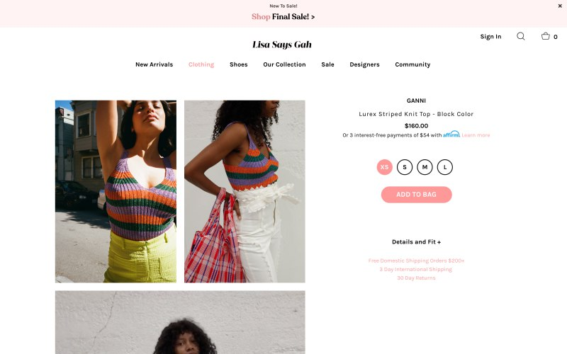 Lisa Says Gah product page screenshot on April 22, 2019