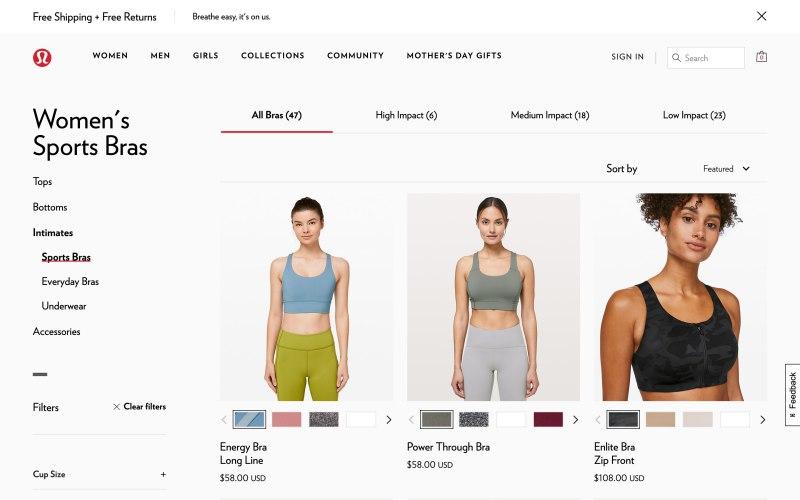 Lululemon catalog page screenshot on April 26, 2019