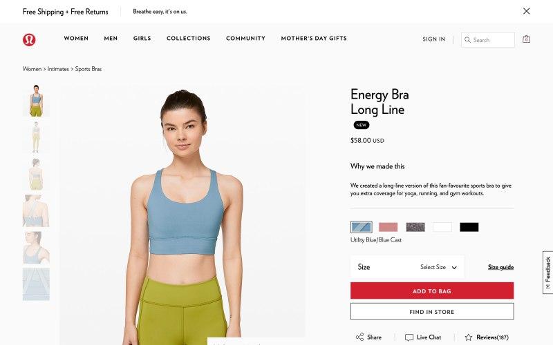 Lululemon product page screenshot on April 26, 2019