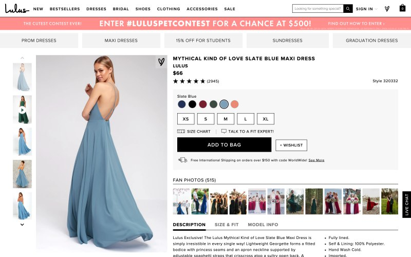 Lulus product page screenshot on April 24, 2019