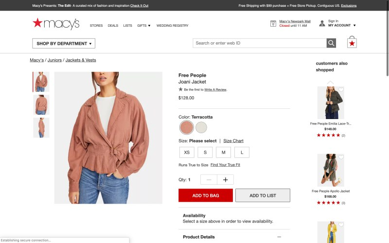 Macy's product page screenshot on April 6, 2019