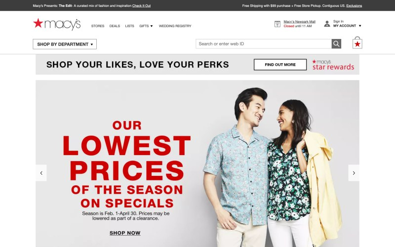 Macy's home page screenshot on April 6, 2019