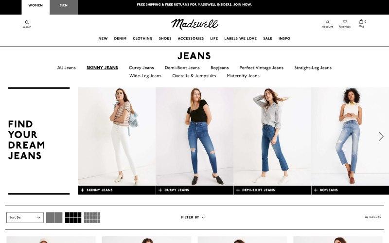 Madewell catalog page screenshot on April 19, 2019