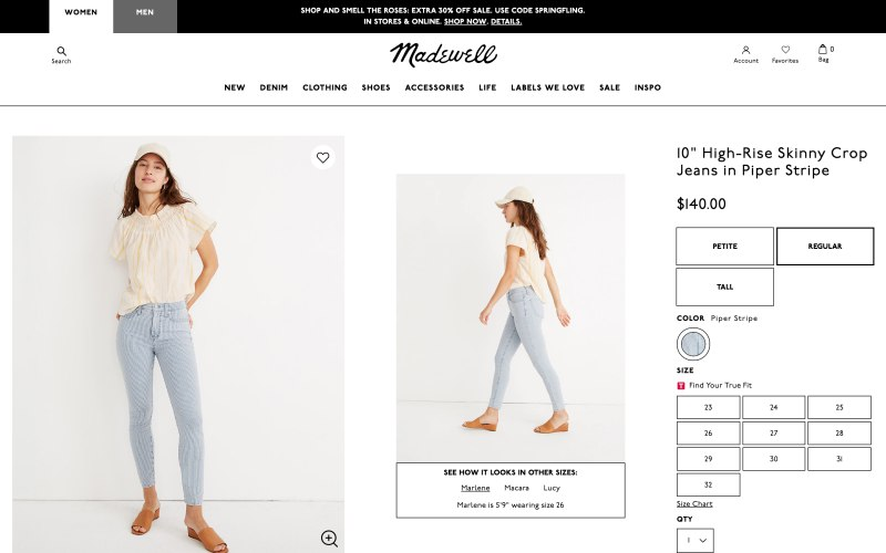 Madewell product page screenshot on April 19, 2019