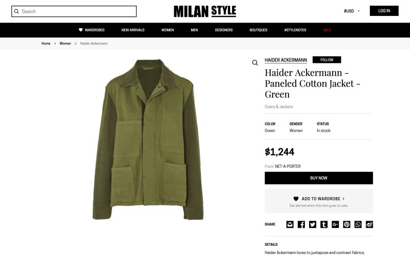 Milan Style product page screenshot on April 30, 2019