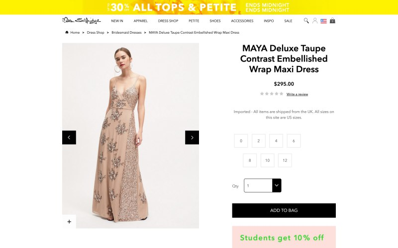 Miss Selfridge product page screenshot on April 23, 2019