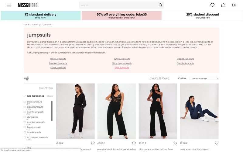 Missguided catalog page screenshot on April 22, 2019