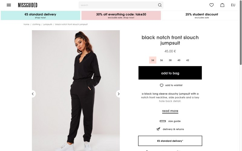 Missguided product page screenshot on April 22, 2019