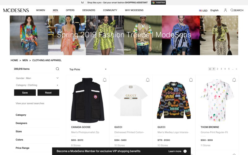 Modesens catalog page screenshot on April 11, 2019