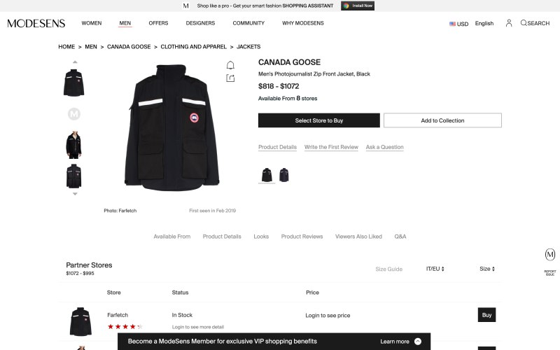 Modesens product page screenshot on April 11, 2019