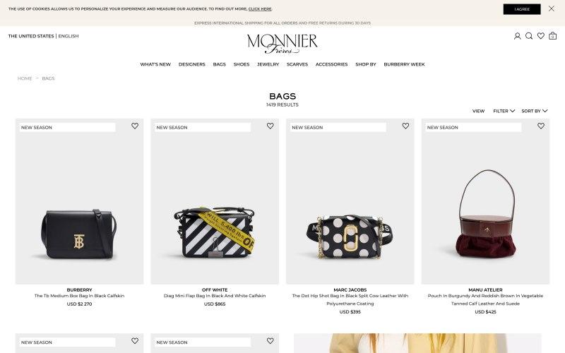 Monnier Freres catalog page screenshot on April 2, 2019