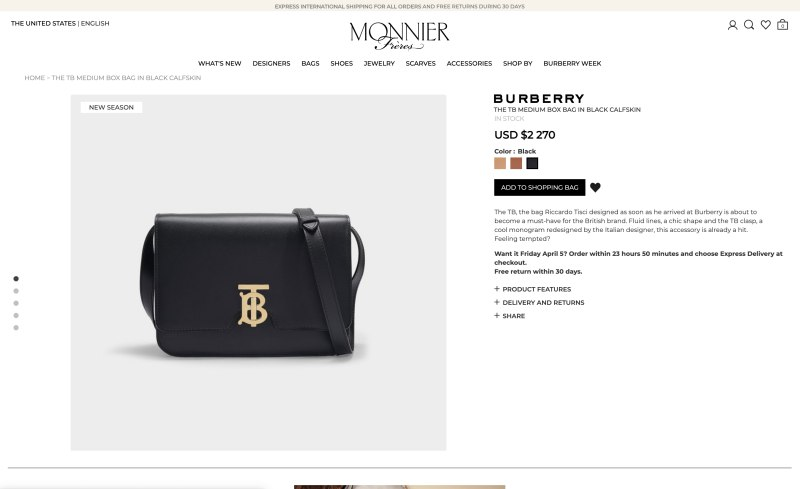 Monnier Freres product page screenshot on April 2, 2019