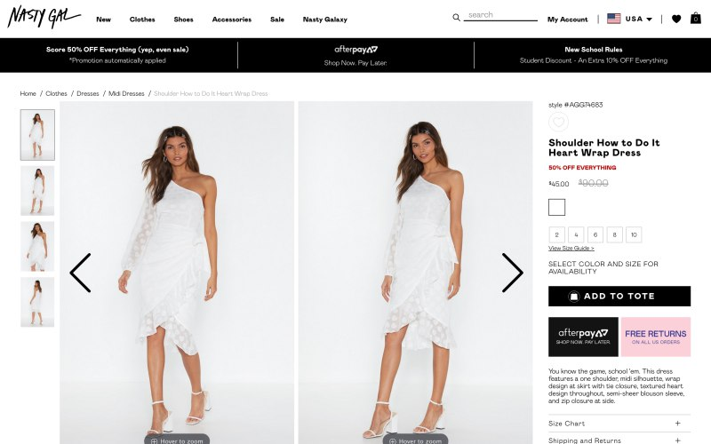 Nasty Gal product page screenshot on April 18, 2019