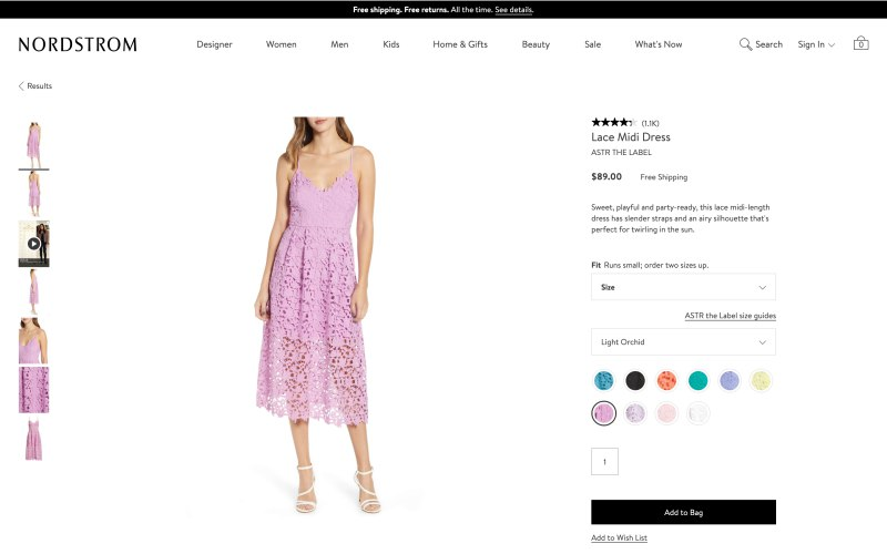 Nordstrom product page screenshot on April 6, 2019