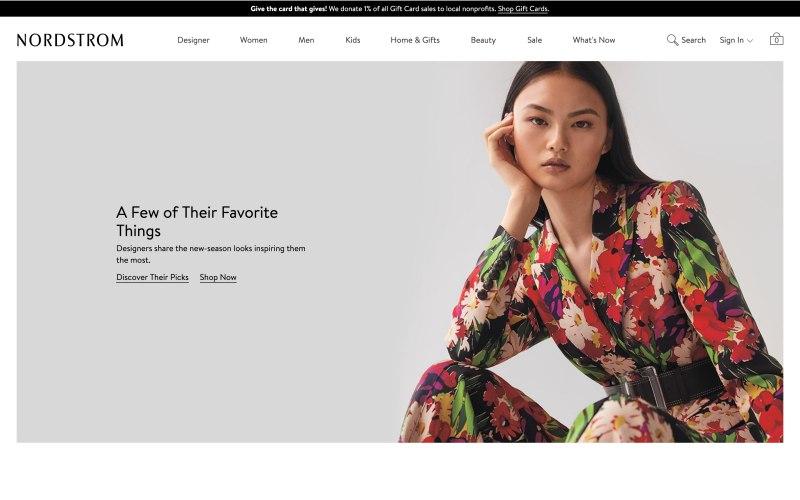 Nordstrom home page screenshot on April 6, 2019