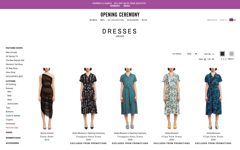 Opening Ceremony catalog page screenshot on April 29, 2019