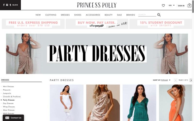 Princess Polly catalog page screenshot on April 23, 2019
