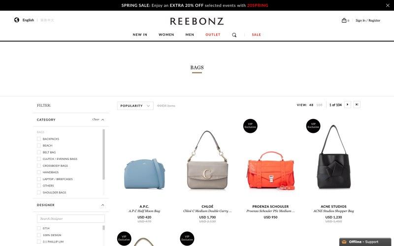 Reebonz catalog page screenshot on April 2, 2019