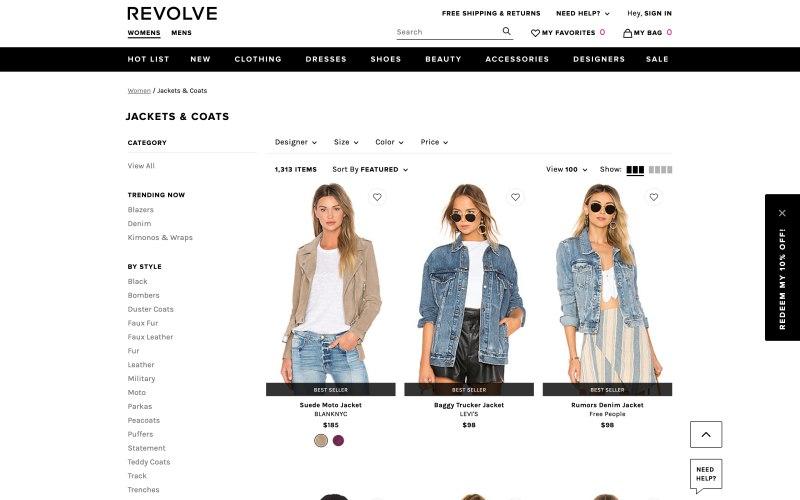 Revolve catalog page screenshot on April 9, 2019