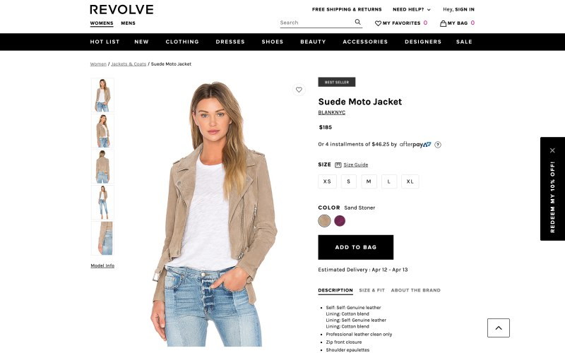 Revolve product page screenshot on April 9, 2019