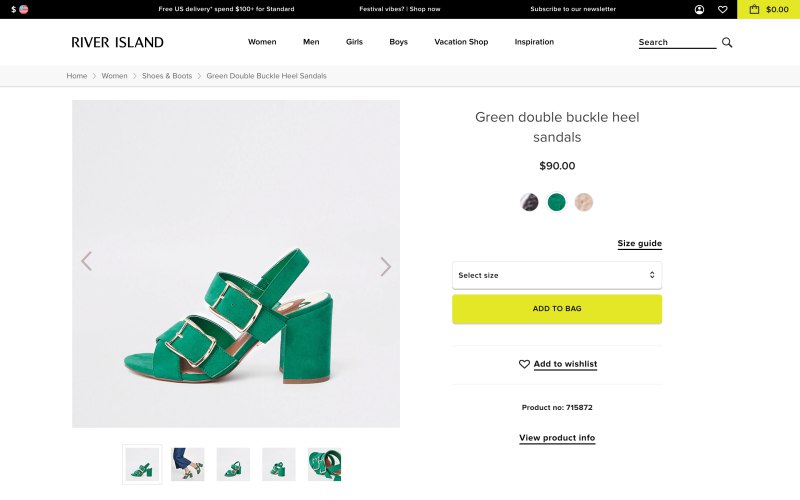 River Island product page screenshot on April 15, 2019