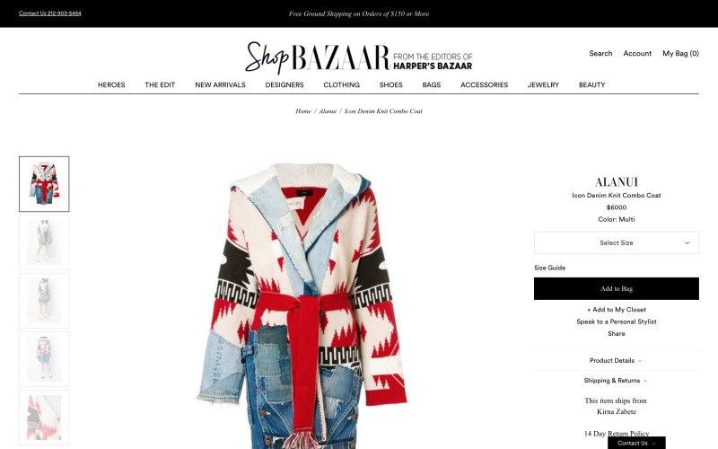 ShopBazaar product page screenshot on April 5, 2019
