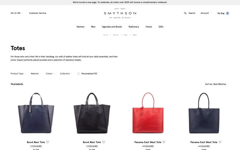 Smythson catalog page screenshot on April 11, 2019