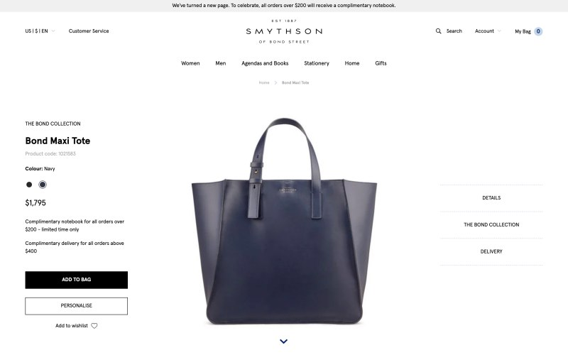 Smythson product page screenshot on April 11, 2019