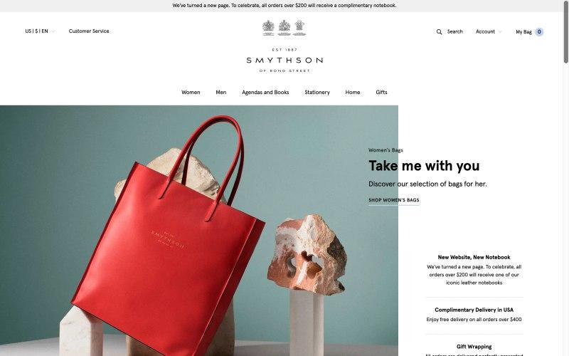 Smythson home page screenshot on April 11, 2019
