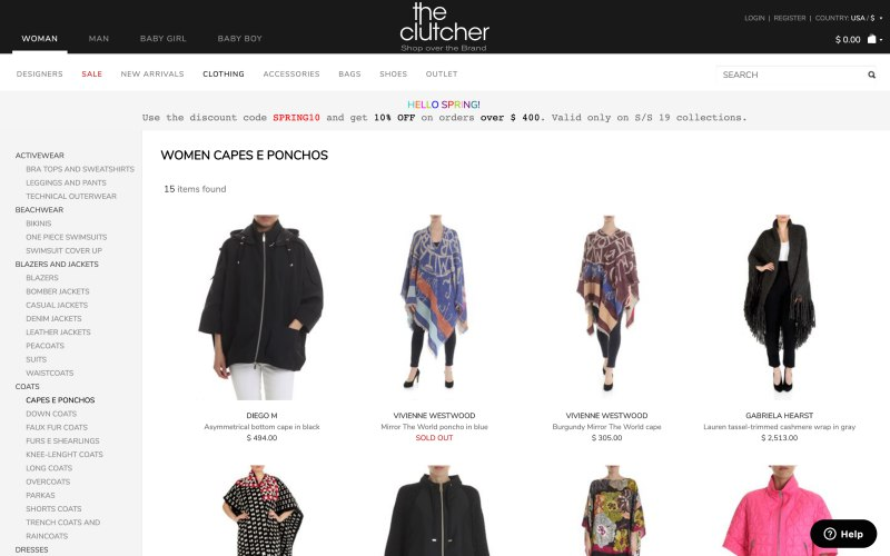 The Clutcher catalog page screenshot on April 5, 2019