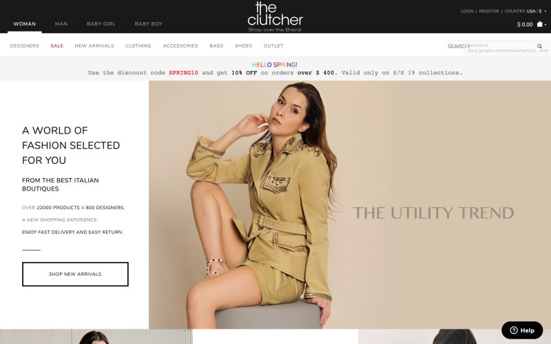 The Clutcher home page screenshot on April 5, 2019